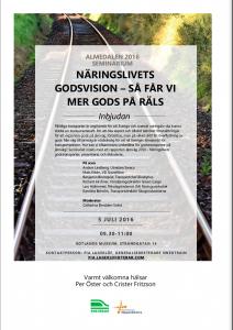 Inbjudan till seminarium i Almedalen - Näringslivets godsvision - så får vi mer gods på räls